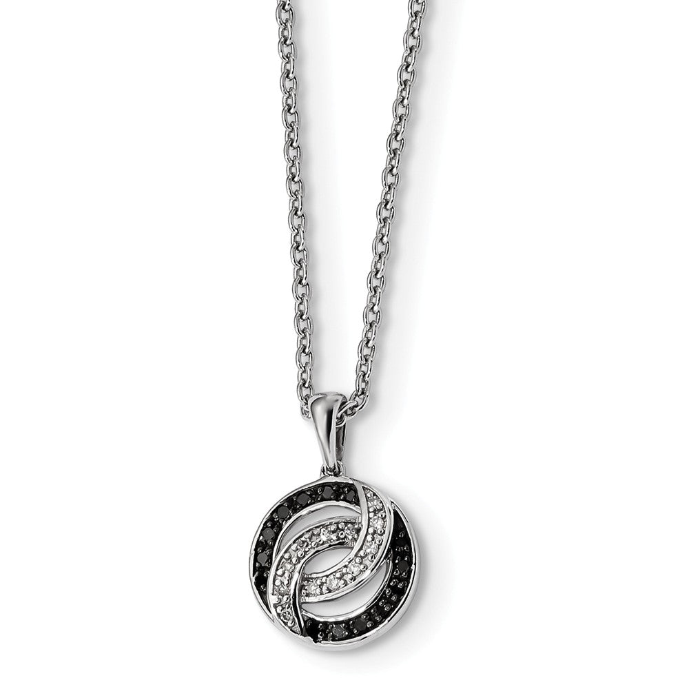Black & White Diamond 11mm Swirl Circle Necklace in Sterling Silver, Item N10807 by The Black Bow Jewelry Co.