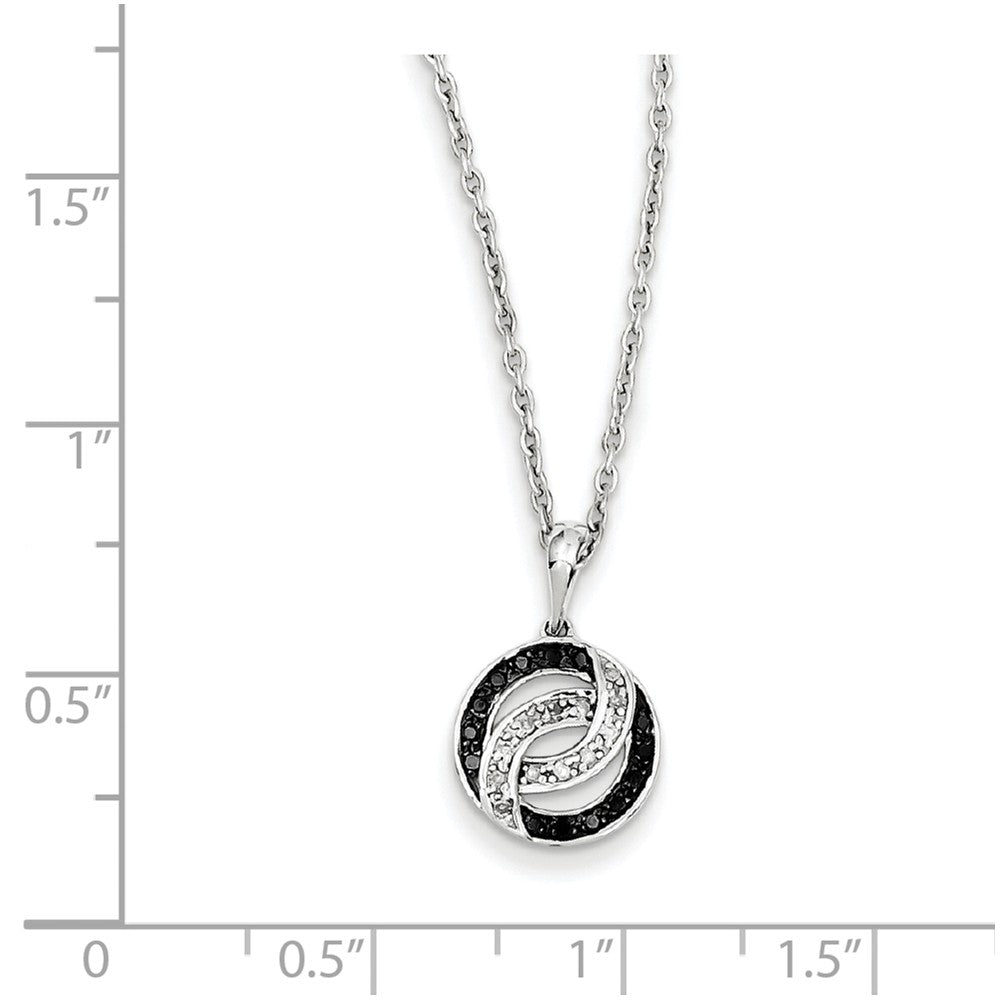 Alternate view of the Black & White Diamond 11mm Swirl Circle Necklace in Sterling Silver by The Black Bow Jewelry Co.