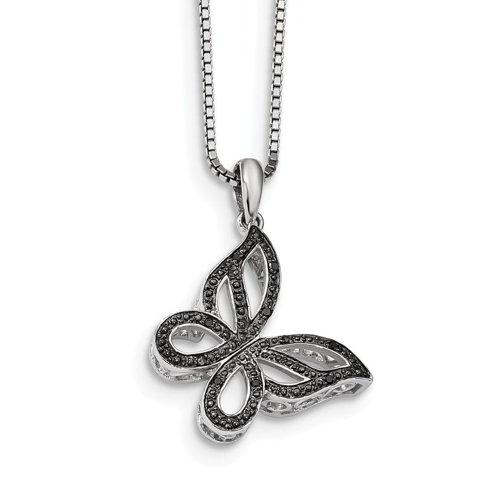 Black Diamond 21mm Butterfly Rhodium Plated Sterling Silver Necklace, Item N10859 by The Black Bow Jewelry Co.
