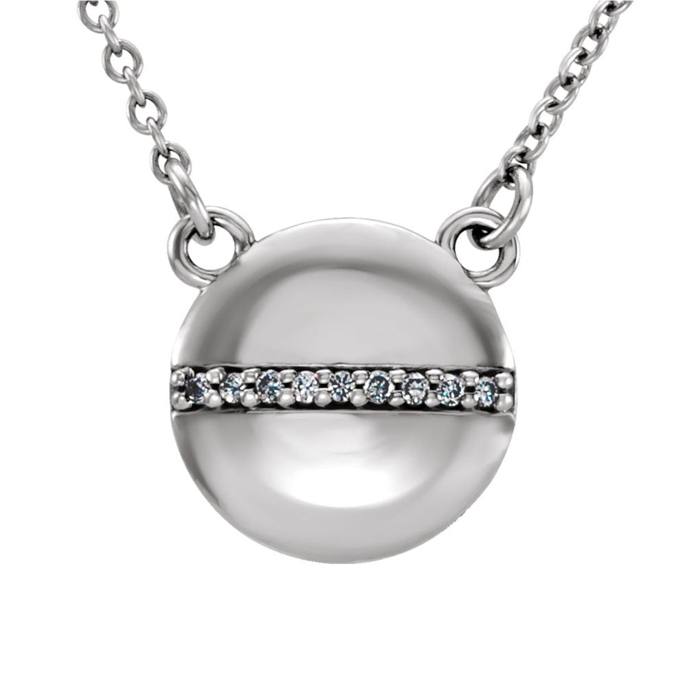 .025 Ctw Diamond 10mm Circle Necklace in 14k White Gold, 16 Inch, Item N10975 by The Black Bow Jewelry Co.