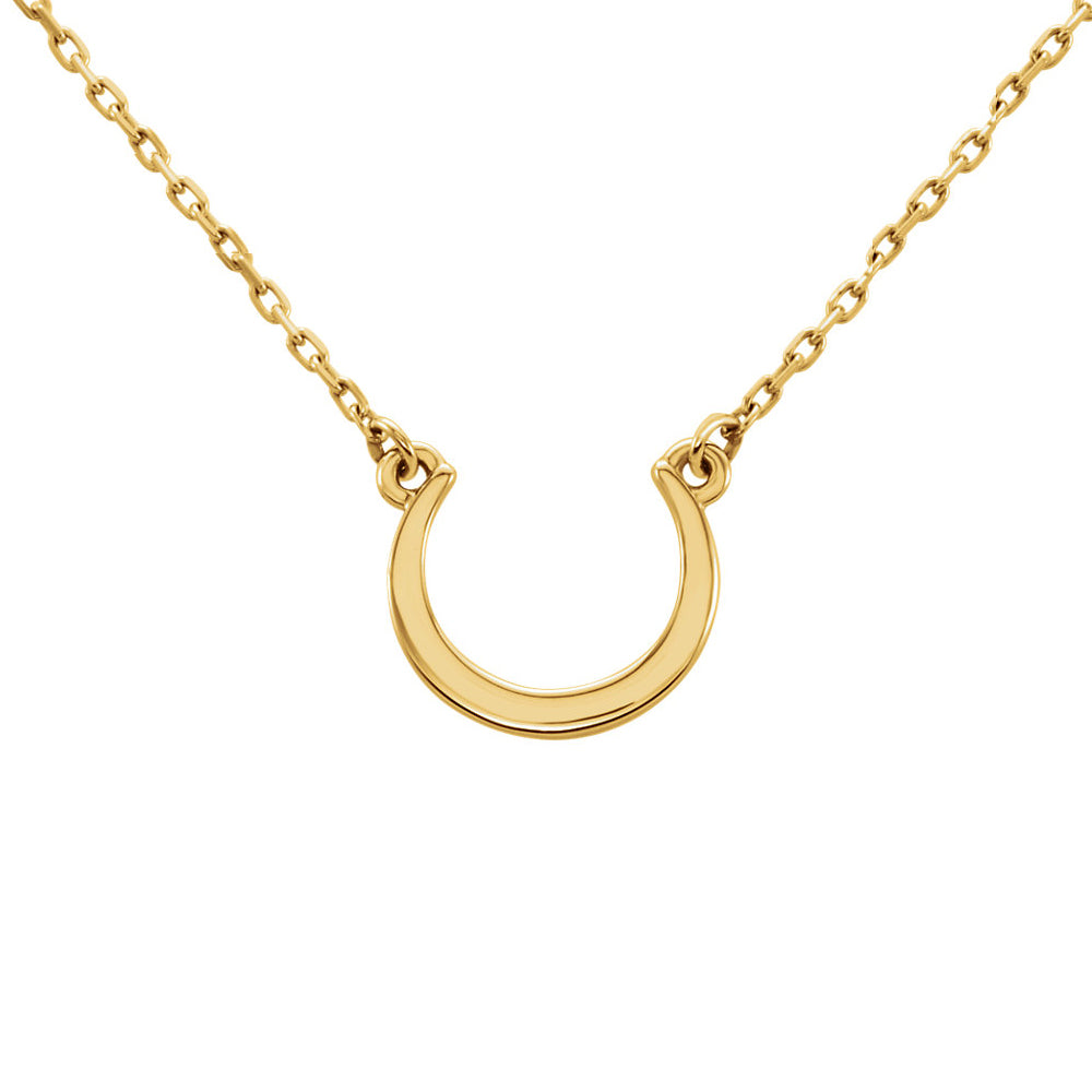 Small Polished Crescent Necklace in 14k Yellow Gold, 18 Inch, Item N11041 by The Black Bow Jewelry Co.