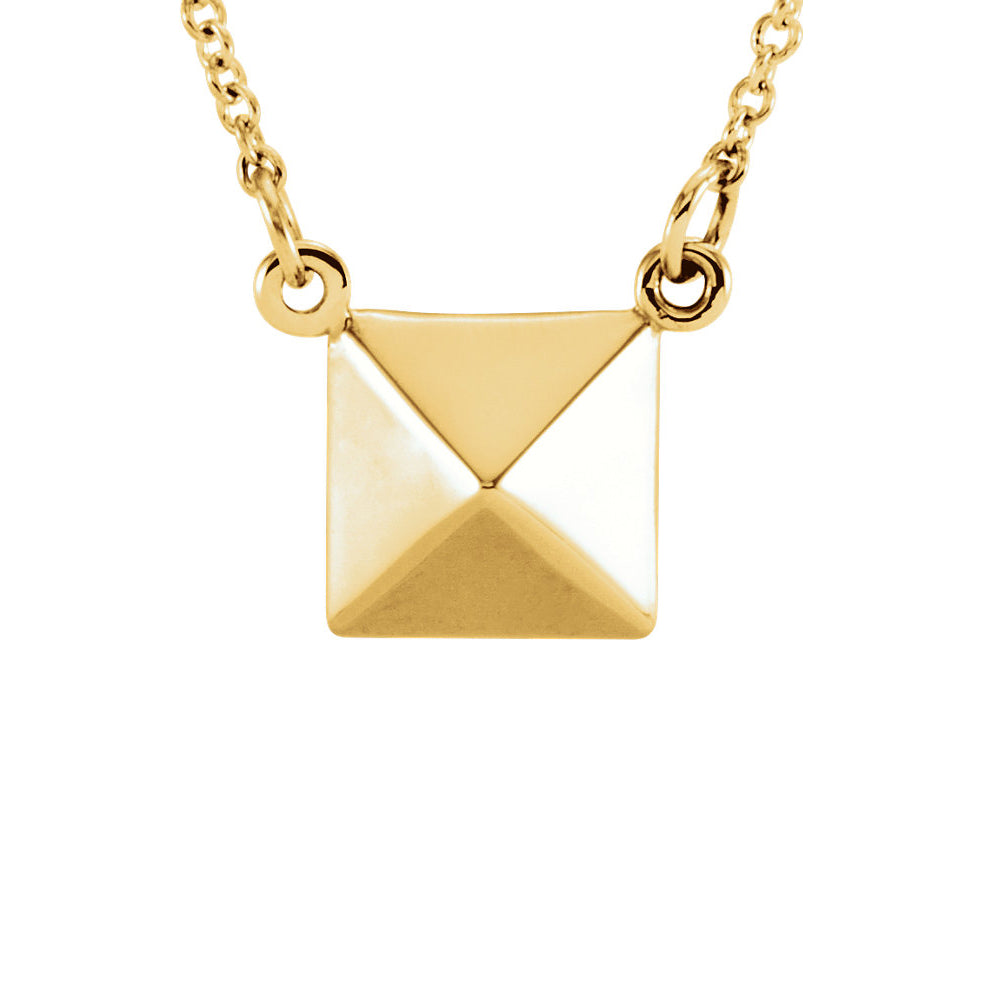Polished Pyramid Necklace in 14k Yellow Gold, 16.25 Inch, Item N11052 by The Black Bow Jewelry Co.