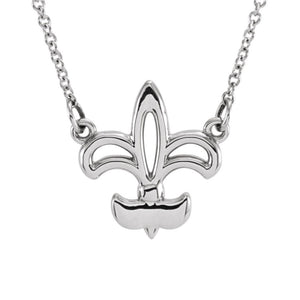 Polished Fleur De Lis Necklace in 14k White Gold, 16 Inch - The Black Bow Jewelry Co.