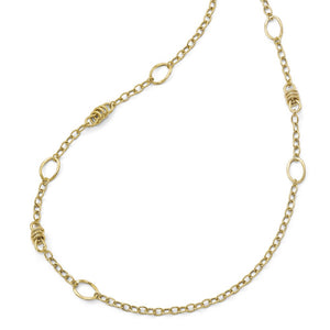 14k Yellow Gold Polished Fancy Link Necklace, 32 Inch - The Black Bow Jewelry Co.