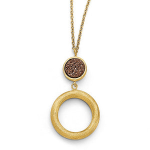 14k Yellow Gold Brown Druzy Disc & Open Circle Drop Necklace, 17 Inch - The Black Bow Jewelry Co.