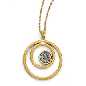 14k Yellow Gold Grey Druzy Round Pendant Necklace, 17 Inch - The Black Bow Jewelry Co.