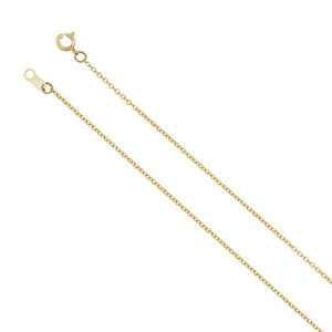1mm 18k Yellow Gold Solid Cable Chain Spring Ring Clasp Necklace