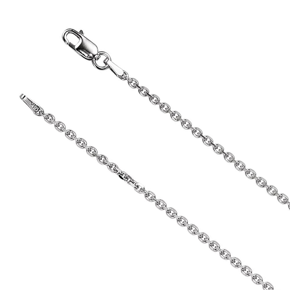 1.75mm 14k White Gold Solid Cable Chain Lobster Clasp Necklace