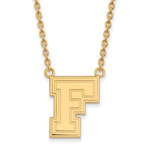 NCAA 10k Yellow Gold Fordham U Large Pendant Necklace - The Black Bow Jewelry Co.