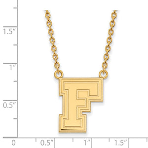 Alternate view of the NCAA 10k Yellow Gold Fordham U Large Pendant Necklace by The Black Bow Jewelry Co.