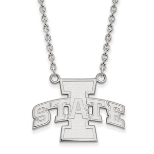 NCAA 14k White Gold Iowa State Large I State Pendant Necklace - The Black Bow Jewelry Co.