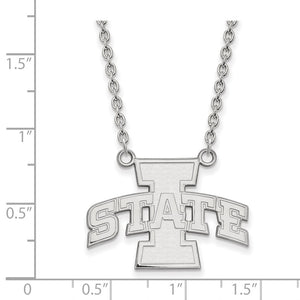 Alternate view of the NCAA 14k White Gold Iowa State Large I State Pendant Necklace by The Black Bow Jewelry Co.
