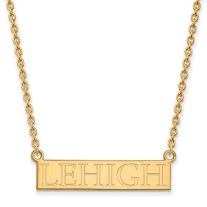 NCAA 14k Yellow Gold Lehigh U Large Pendant Necklace - The Black Bow Jewelry Co.