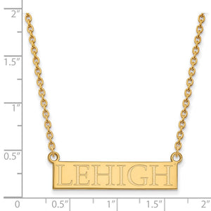 Alternate view of the NCAA 14k Yellow Gold Lehigh U Large Pendant Necklace by The Black Bow Jewelry Co.