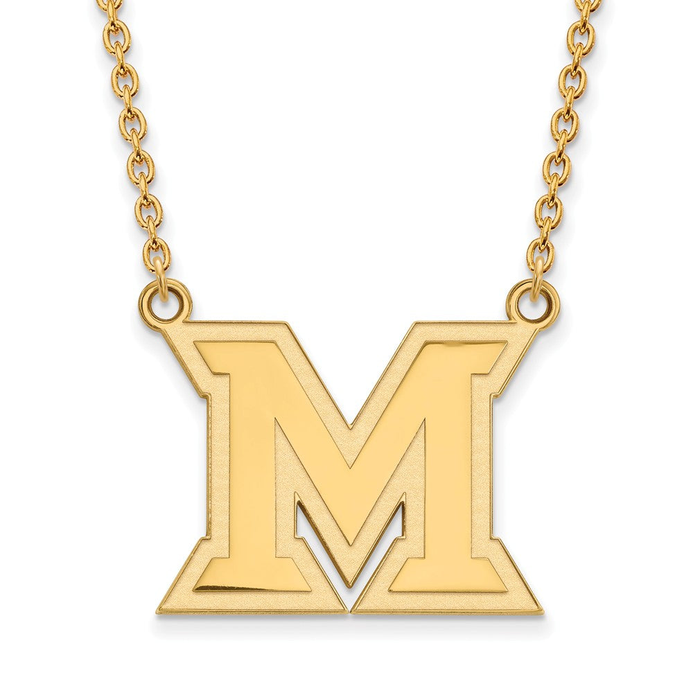 NCAA 14k Yellow Gold Miami U Large Pendant Necklace, Item N12272 by The Black Bow Jewelry Co.