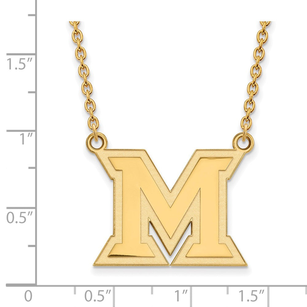 Alternate view of the NCAA 14k Yellow Gold Miami U Large Pendant Necklace by The Black Bow Jewelry Co.
