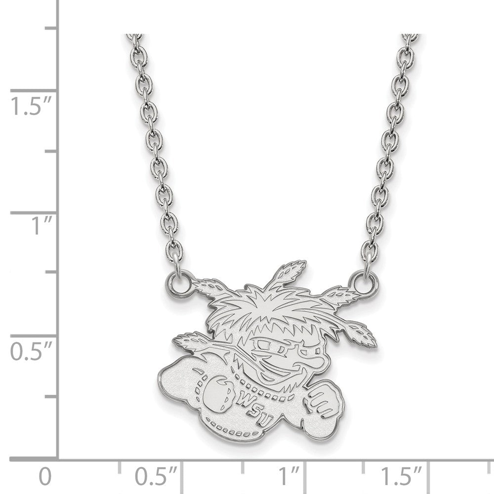 Alternate view of the NCAA Sterling Silver Wichita State Large Shocker Pendant Necklace by The Black Bow Jewelry Co.