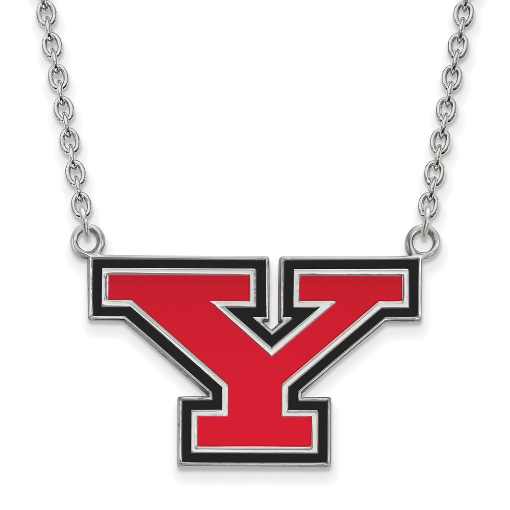 NCAA Sterling Silver Youngstown State Large Enameled Pendant Necklace, Item N12728 by The Black Bow Jewelry Co.