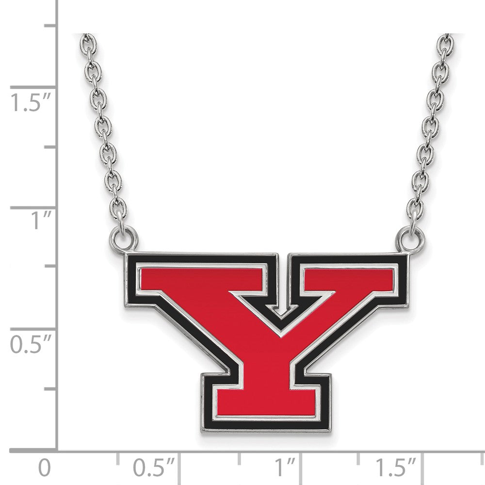 Alternate view of the NCAA Sterling Silver Youngstown State Large Enameled Pendant Necklace by The Black Bow Jewelry Co.