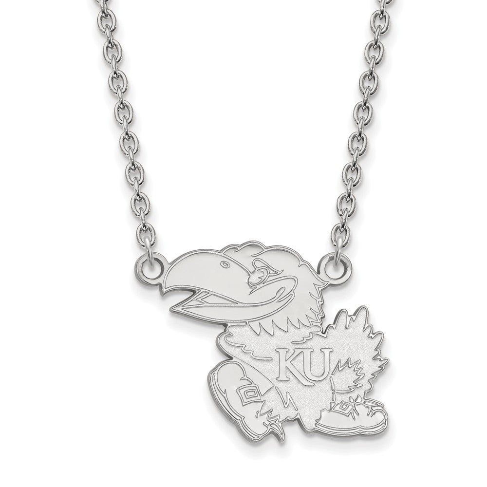 NCAA Sterling Silver U of Kansas Large Jayhawk Pendant Necklace, Item N12751 by The Black Bow Jewelry Co.