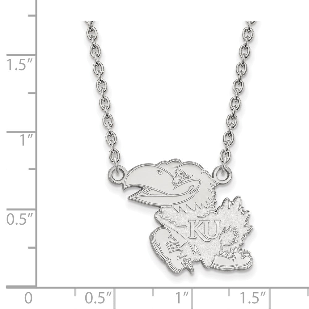 Alternate view of the NCAA Sterling Silver U of Kansas Large Jayhawk Pendant Necklace by The Black Bow Jewelry Co.