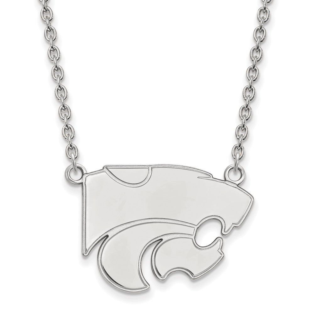 NCAA Sterling Silver Kansas State Large Wildcat Pendant Necklace, Item N12776 by The Black Bow Jewelry Co.
