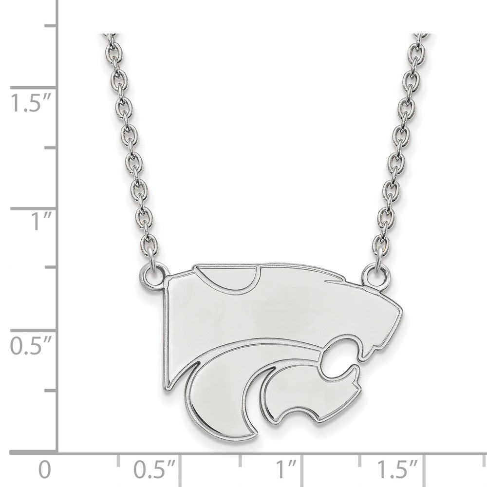 Alternate view of the NCAA Sterling Silver Kansas State Large Wildcat Pendant Necklace by The Black Bow Jewelry Co.