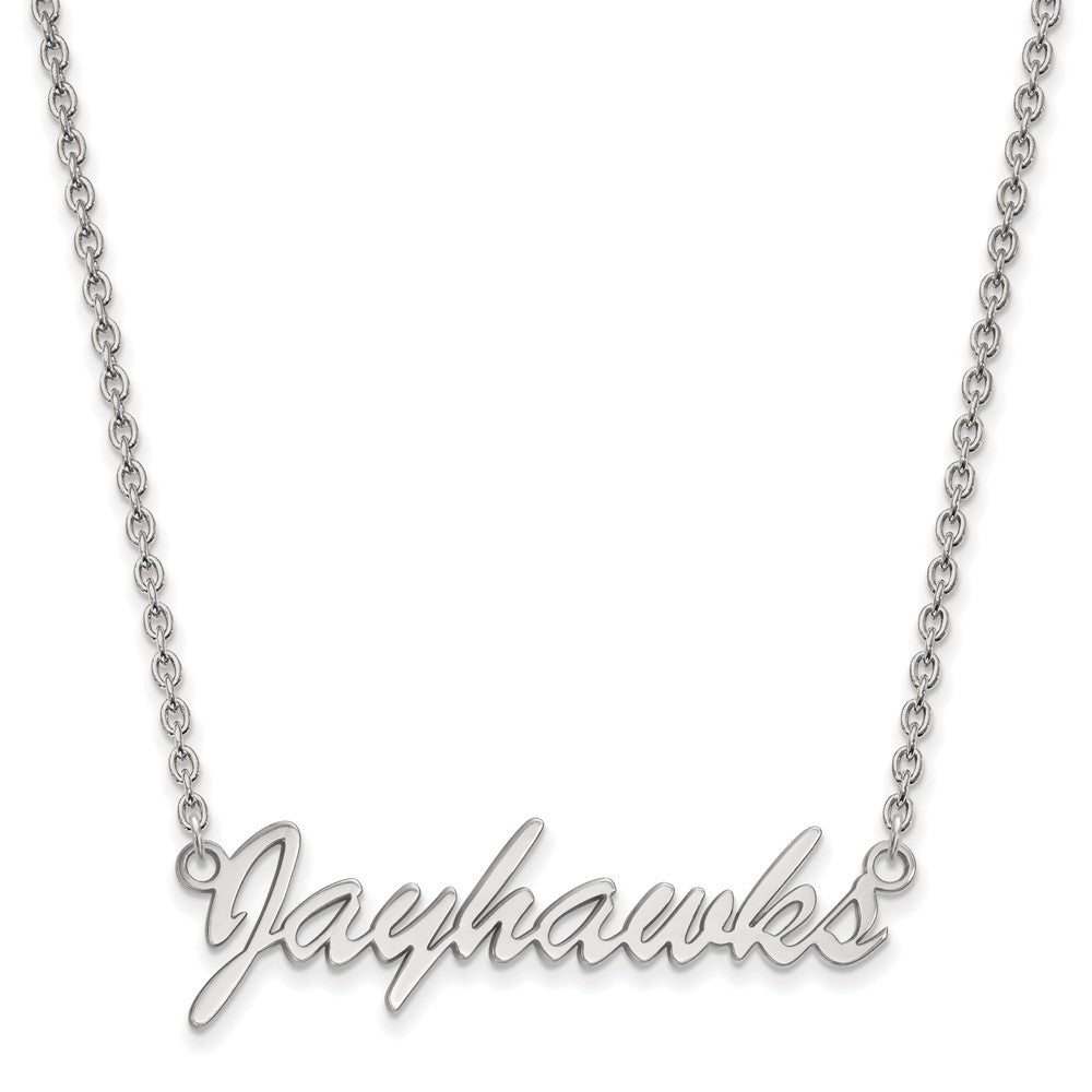 NCAA Sterling Silver U of Kansas Medium Pendant Necklace, Item N12898 by The Black Bow Jewelry Co.