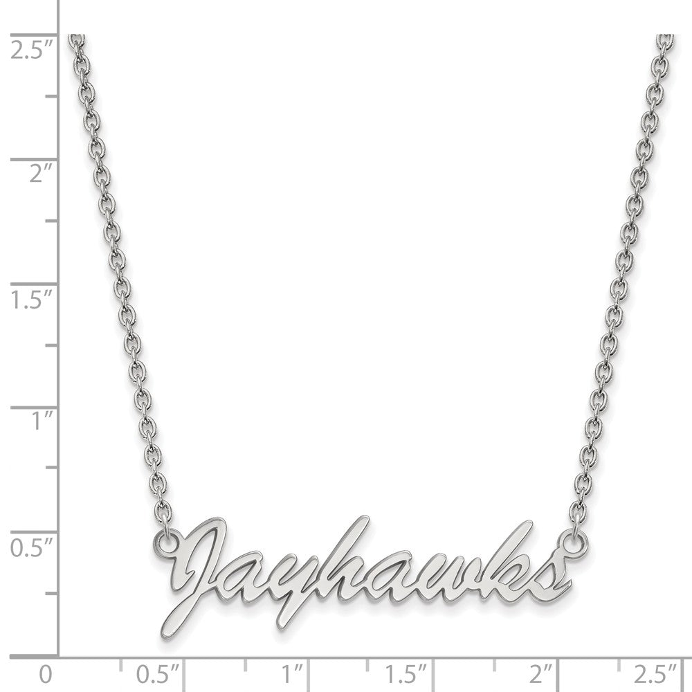 Alternate view of the NCAA Sterling Silver U of Kansas Medium Pendant Necklace by The Black Bow Jewelry Co.