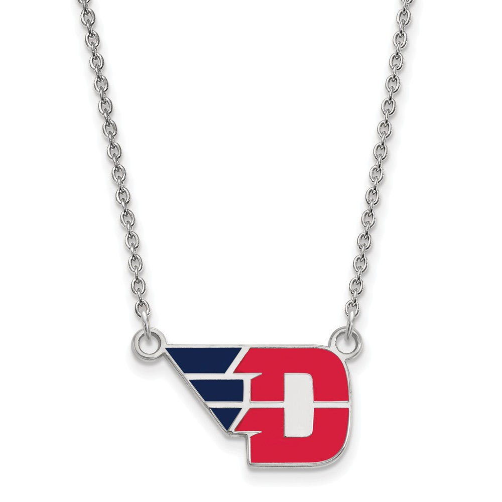 NCAA Sterling Silver U of Dayton Small Enamel Pendant Necklace, Item N12925 by The Black Bow Jewelry Co.