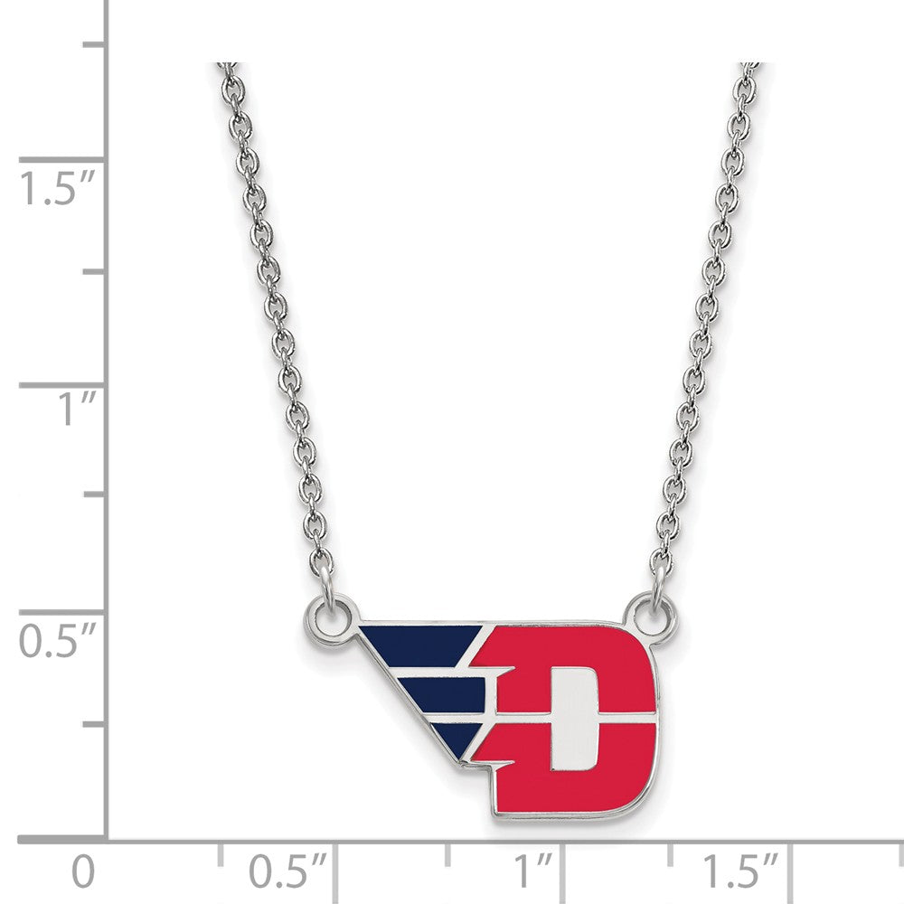 Alternate view of the NCAA Sterling Silver U of Dayton Small Enamel Pendant Necklace by The Black Bow Jewelry Co.