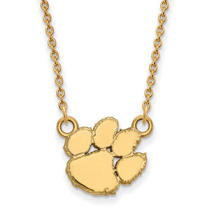 NCAA 10k Yellow Gold Clemson U Small Pendant Necklace - The Black Bow Jewelry Co.