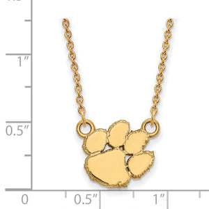 Alternate view of the NCAA 10k Yellow Gold Clemson U Small Pendant Necklace by The Black Bow Jewelry Co.