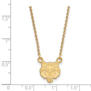 Alternate view of the NCAA 14k Yellow Gold Arkansas State Small Pendant Necklace by The Black Bow Jewelry Co.