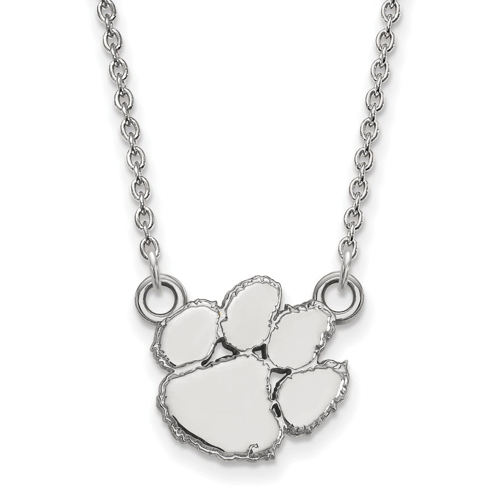 NCAA Sterling Silver Clemson U Small Pendant Necklace, Item N13933 by The Black Bow Jewelry Co.