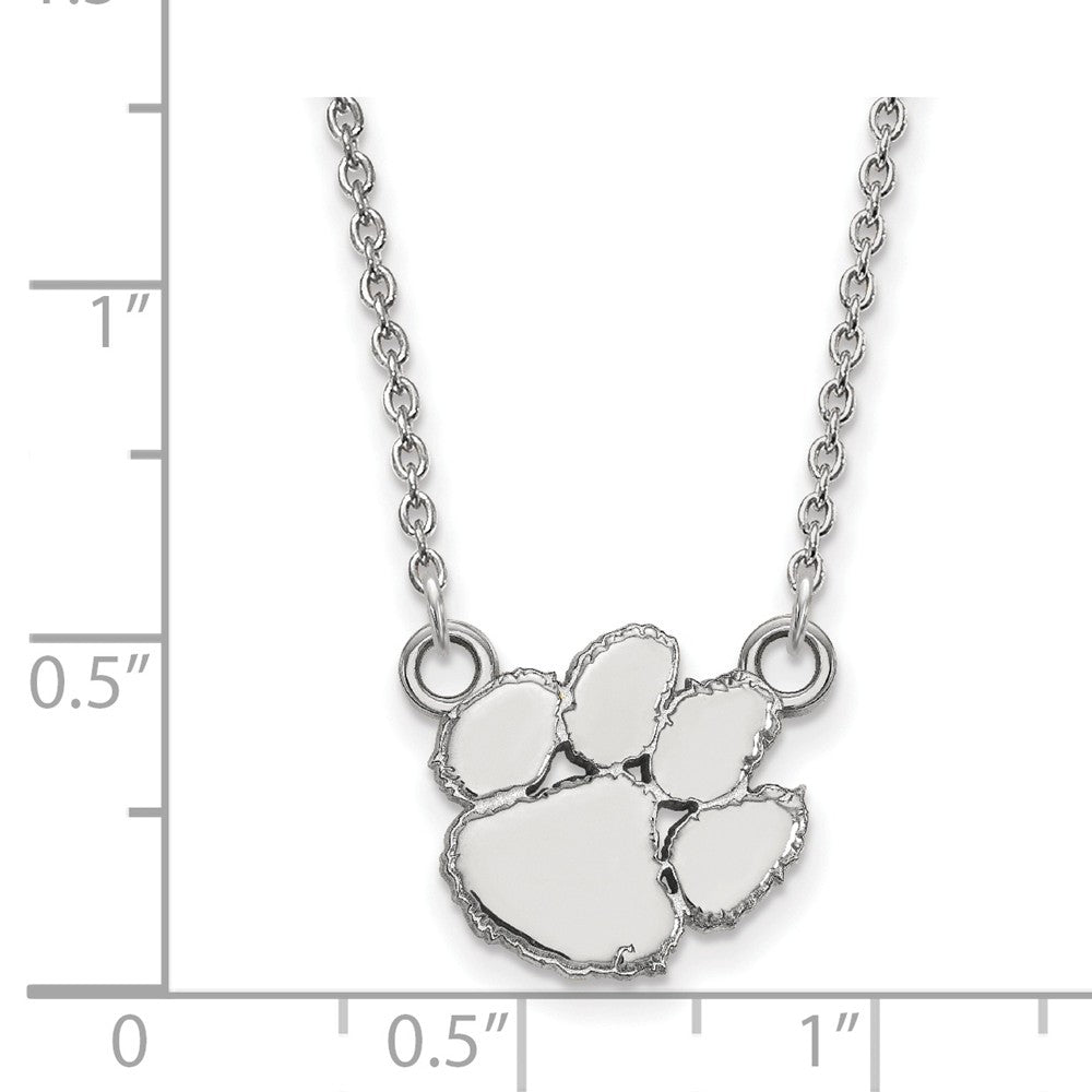 Alternate view of the NCAA Sterling Silver Clemson U Small Pendant Necklace by The Black Bow Jewelry Co.