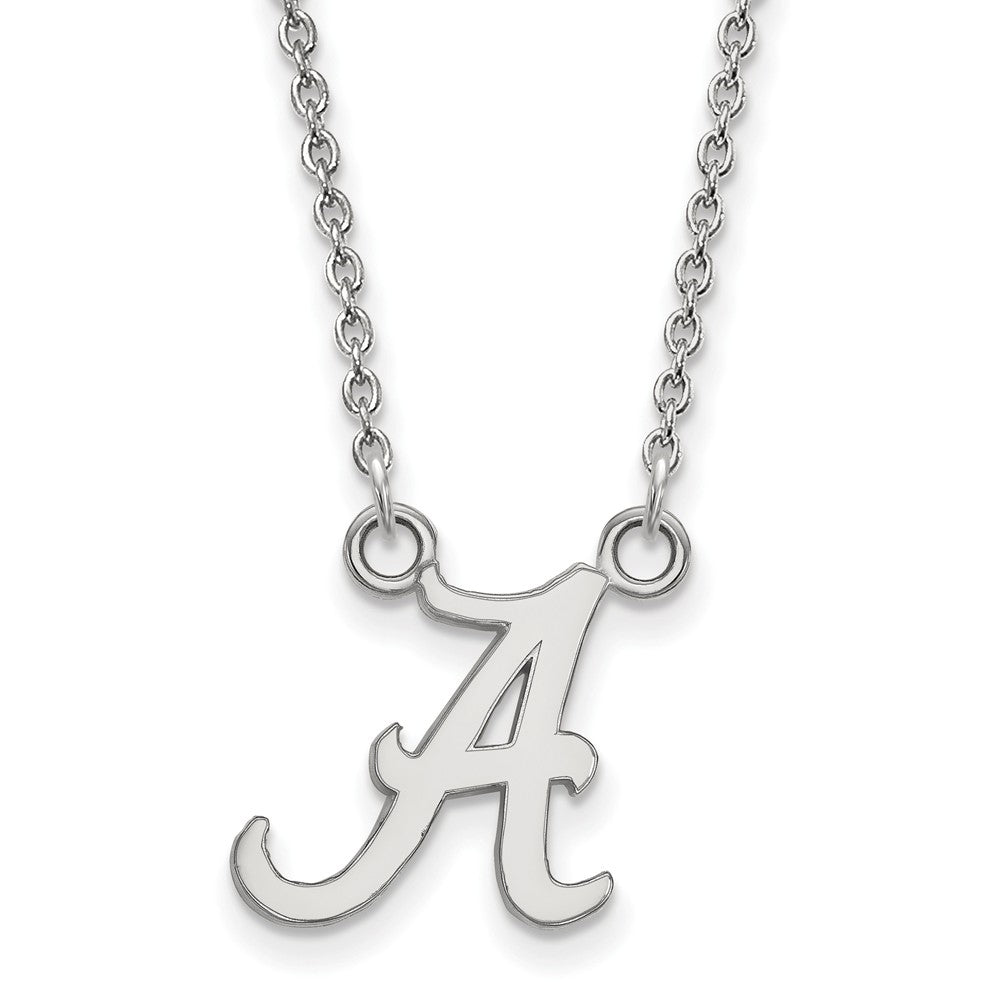 NCAA Sterling Silver U of Alabama Small 'A' Pendant Necklace, Item N13943 by The Black Bow Jewelry Co.