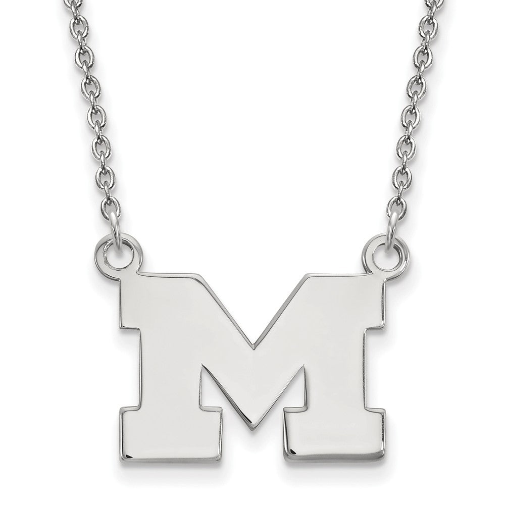 NCAA Sterling Silver U of Michigan Small Pendant Necklace, Item N13949 by The Black Bow Jewelry Co.
