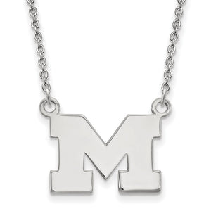 NCAA Sterling Silver U of Michigan Small Pendant Necklace - The Black Bow Jewelry Co.