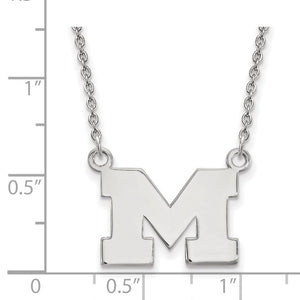 Alternate view of the NCAA Sterling Silver U of Michigan Small Pendant Necklace by The Black Bow Jewelry Co.