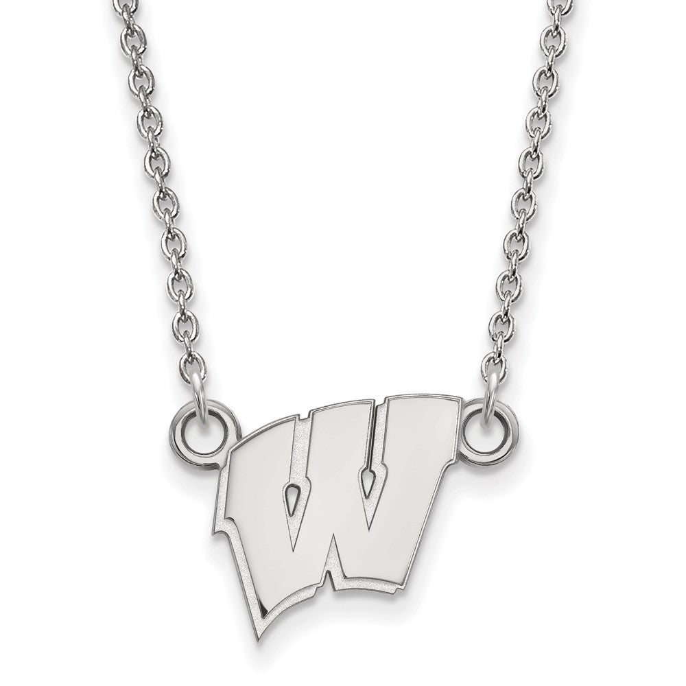 NCAA Sterling Silver U of Wisconsin Small 'W' Pendant Necklace, Item N13957 by The Black Bow Jewelry Co.