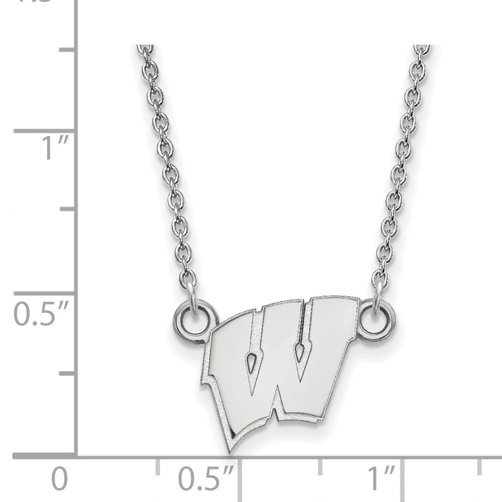 Alternate view of the NCAA Sterling Silver U of Wisconsin Small 'W' Pendant Necklace by The Black Bow Jewelry Co.