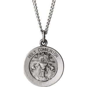Sterling Silver 15mm Holy Communion Medal Necklace, 18 Inch - The Black Bow Jewelry Co.
