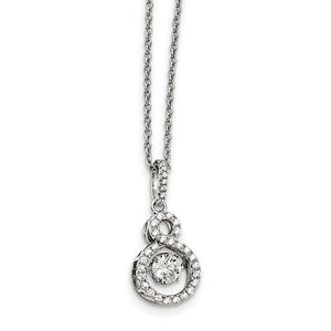 Rhodium Plated Sterling Silver & CZ Infinity Necklace, 18-20 Inch - The Black Bow Jewelry Co.