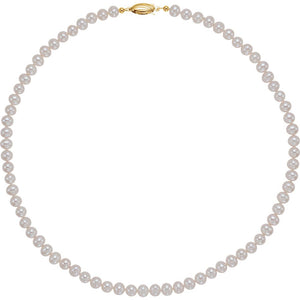 5.5-6.0mm, White FW Cultured Pearl & 14k Yellow Gold Necklace, 18 Inch - The Black Bow Jewelry Co.