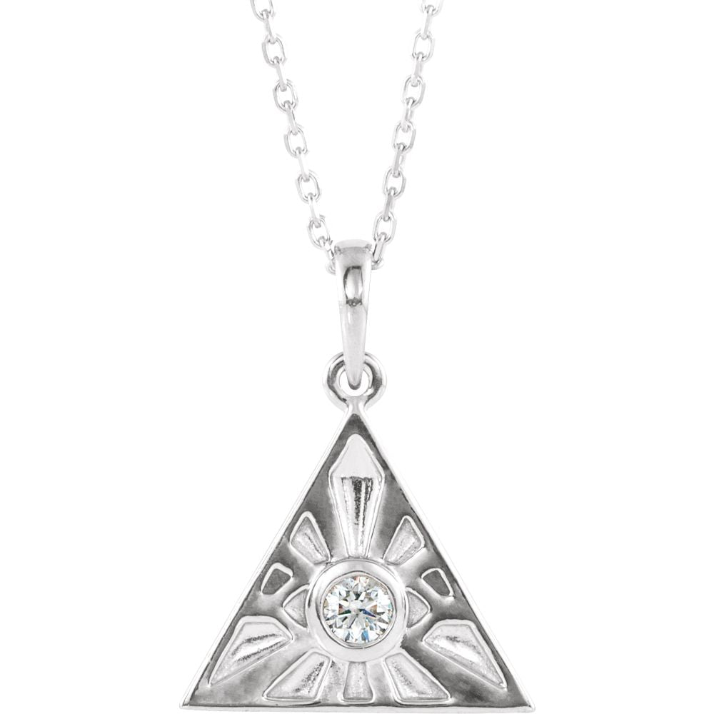 Sterling Silver 1/10 CT Diamond Eye of Providence Necklace, 16-18 Inch, Item N14244 by The Black Bow Jewelry Co.