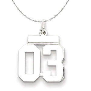 Silver, Athletic Collection, Small Polished Number 03 Necklace - The Black Bow Jewelry Co.