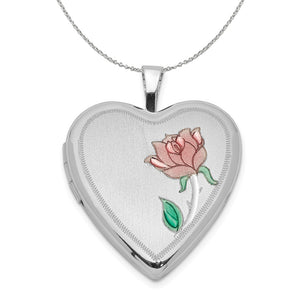 Sterling Silver and Enamel 20mm Rose Heart Locket Necklace - The Black Bow Jewelry Co.