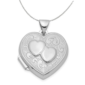 Sterling Silver 18mm Double Design Heart Shaped Locket Necklace - The Black Bow Jewelry Co.