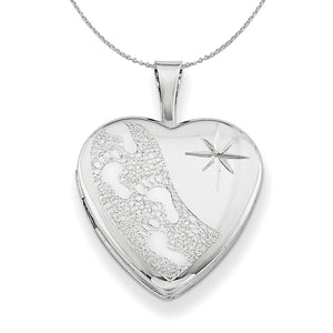 Silver 16mm Footprints and Diamond Cut Star Heart Locket Necklace - The Black Bow Jewelry Co.
